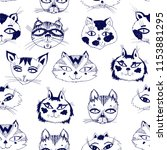seamless pattern with cute cats ... | Shutterstock .eps vector #1153881295