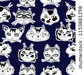 seamless pattern with cute cats ... | Shutterstock .eps vector #1153881298