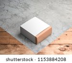 gold gift box mockup with white ... | Shutterstock . vector #1153884208