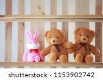 Cute Bears And Rabbit   On Shelf