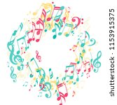 wreath of musical symbols.... | Shutterstock .eps vector #1153915375