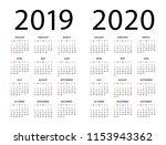 calendar 2019 2020 year  ... | Shutterstock .eps vector #1153943362