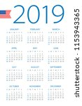 calendar 2019 year   vector... | Shutterstock .eps vector #1153943365