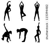 aerobic silhouettes | Shutterstock . vector #115394482