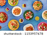 pasta with vegetables and sauce ... | Shutterstock . vector #1153957678