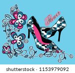 colorful court shoes with... | Shutterstock .eps vector #1153979092