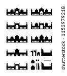 mosque silhouette facade | Shutterstock .eps vector #1153979218