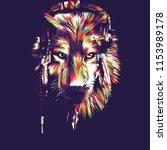 wolf vector pop art | Shutterstock .eps vector #1153989178