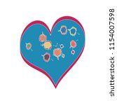 funky kids style heart vector... | Shutterstock .eps vector #1154007598