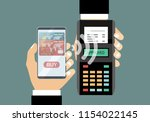 hand with smartphone near pos...   Shutterstock .eps vector #1154022145