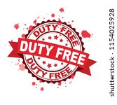 red rubber stamp with duty free ... | Shutterstock .eps vector #1154025928
