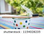 bamboo toothbrush  zero waste ... | Shutterstock . vector #1154028235