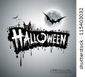 happy halloween text design... | Shutterstock .eps vector #115403032