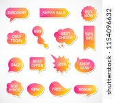vector stickers  price tag ... | Shutterstock .eps vector #1154096632