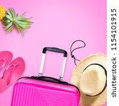 travel set fuchsia suitcase...   Shutterstock . vector #1154101915