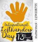 left hand in brush stroke style ... | Shutterstock .eps vector #1154108755