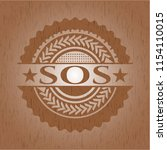 sos wooden emblem. vintage. | Shutterstock .eps vector #1154110015