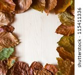 square frame from beech leaves on wood background - stock photo