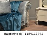 seat and blue silk fabric detail | Shutterstock . vector #1154113792