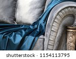 seat and blue silk fabric detail | Shutterstock . vector #1154113795