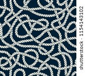 seamless nautical rope pattern. ... | Shutterstock . vector #1154143102