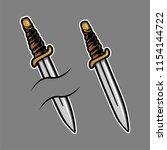 oldschool knife illustration | Shutterstock .eps vector #1154144722