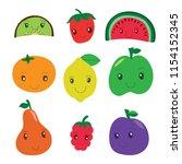 kiwi  strawberry  watermelon ... | Shutterstock .eps vector #1154152345