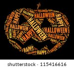 halloween pumpkin in words... | Shutterstock . vector #115416616