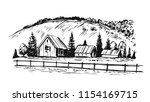 rural landscape. hand drawn... | Shutterstock .eps vector #1154169715