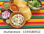 pozole mexican corn soup ...   Shutterstock . vector #1154180512