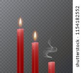 realistic red candle  burning... | Shutterstock .eps vector #1154182552