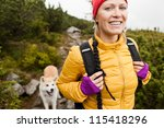 Happy Smiling Woman Hiking In...
