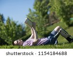 disabled young man with foot... | Shutterstock . vector #1154184688