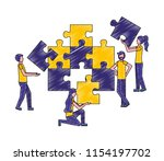 people connecting puzzle pieces ... | Shutterstock .eps vector #1154197702