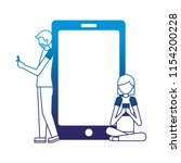 man and woman using cellphones...   Shutterstock .eps vector #1154200228