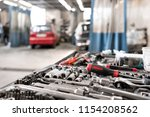 dirty set of hand tools and... | Shutterstock . vector #1154208562