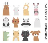 set of cute cartoon animals.... | Shutterstock .eps vector #1154221192