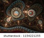 golden fractal steampunk... | Shutterstock . vector #1154221255