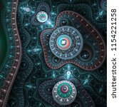 glossy blue fractal time... | Shutterstock . vector #1154221258