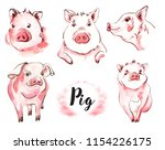 Pig Watercolor Illustration Set ...