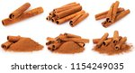 cinnamon isolated on white... | Shutterstock . vector #1154249035