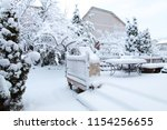 Snow On Garden Patio  Winter...