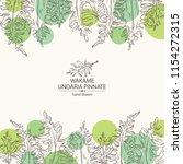 background with wakame  undaria ... | Shutterstock .eps vector #1154272315
