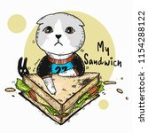 cat and sandwich | Shutterstock .eps vector #1154288122