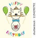 "postcard ""birthday"" with a cat  ... 