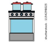 kitchen oven with pot | Shutterstock .eps vector #1154298025
