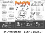 vintage halloween menu design.... | Shutterstock .eps vector #1154315362