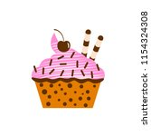 yummy cake  muffin isolated on... | Shutterstock .eps vector #1154324308