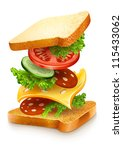 exploded view of sandwich ingredients with cheese, tomatoes, lettuce and sausage. Vector illustration isolated on white background EPS10.