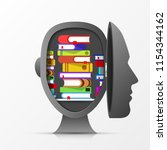 open head with books. creative... | Shutterstock .eps vector #1154344162